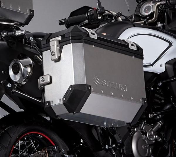 """Seitenkoffer """"Alu Box"""" silber/schwarz für Suzuki V-Strom 650 BJ. 2012-2016"""