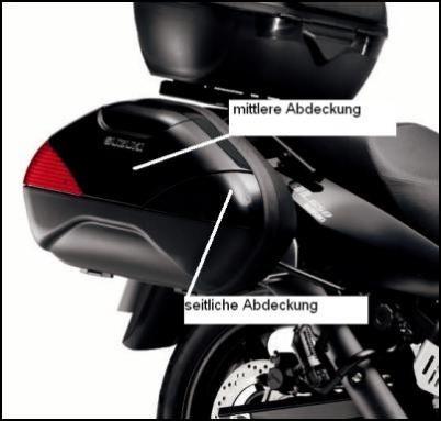 Seitliche Kofferabdeckung, schwarz für Suzuki V-Strom 650 BJ. 2009-2011/ V-Strom 650 BJ. 2004-2008