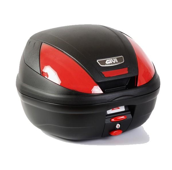 E370 MONOLOCK Topcase with red reflectors and plate Original Givi