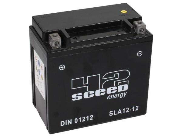 Sceed 42 Energy Batterie SLA12-12, 12 V, 12 A, Gel / SLA, TOP PREIS-TOP QUALITÄT für YTX14-BS, Facto