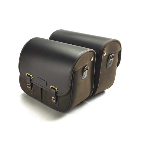 Gepäcktaschen -Leder/Waxed-Cotton - olivgrün/braun für Triumph Thruxton 1200