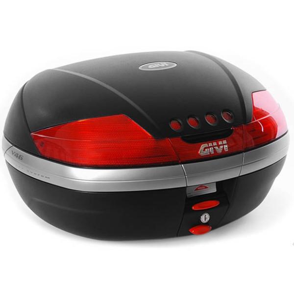 V46 MONOKEY Topcase 46 Liter schwarz matt mit roten Reflektoren Original Givi