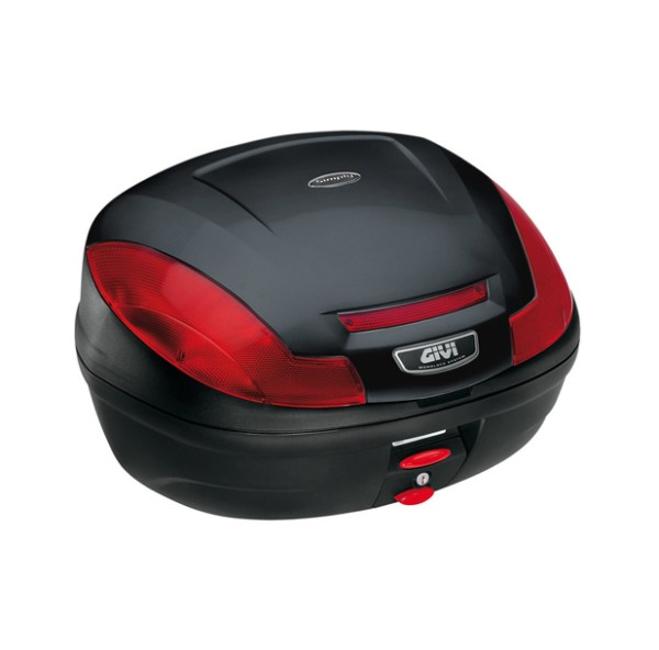 E470 Simply III MONOLOCK topcase black with red reflectors and plate Original Givi