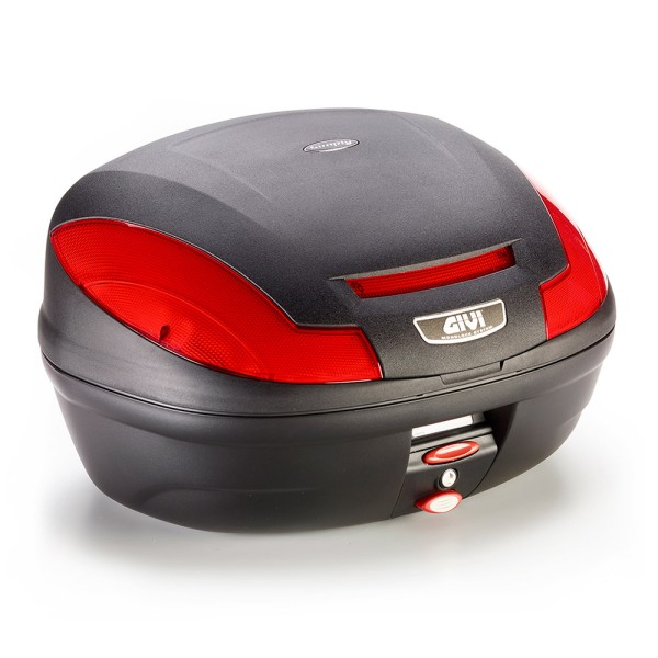 E470 Simply III MONOLOCK topcase black with red reflectors and cover without plate Original Givi