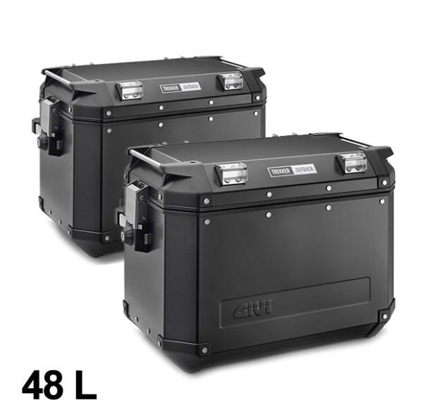 Givi aluminum side case set Trekker Outback 48L black Monokey